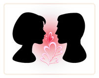 Man and woman faces vector profiles. Lovers Royalty Free Stock Images