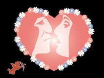 Man and woman fall in love. Vector image on black background Royalty Free Stock Photos