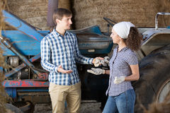 Man and woman farmers resting Royalty Free Stock Photo