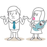 Man and woman fatherhood discussion. Vector illustration of monochrome cartoon characters: Doubtful looking man and angry looking woman with crying baby vector illustration