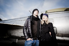 Man and woman with fighter plane Royalty Free Stock Photo