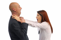 Man and woman fighting. Woman strangles man on white background royalty free stock images