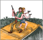 Man Woman Fighting Zombies Watercolor Royalty Free Stock Images