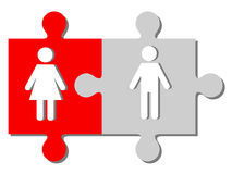 Man and woman figures on the pieces of the puzzle. Man and woman couple  figures on the pieces of the puzzle Royalty Free Stock Image