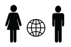 Man and woman figures vector - world internet icon. Isolated on white background Royalty Free Stock Photography