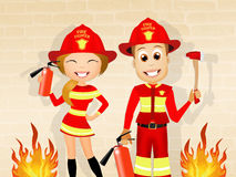 Man and woman firefighters. Illustration of man and woman firefighters Royalty Free Stock Image