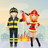 Man and woman firefighters. Illustration of man and woman firefighters Stock Image