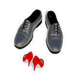 Man and woman first date meeting. Man get acquainted with woman. Man and woman first date meeting. Red women's shoes towards  men's shoes Stock Photography