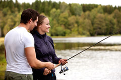 Man and Woman Fishing stock image