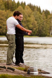 Man and Woman Fishing Royalty Free Stock Photos