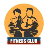 Man and Woman Fitness Club logo Design. Bodybuilding or Fitness Template. Athletic Man and Woman Holding Weight Silhouette. Vector illustration Royalty Free Stock Photos