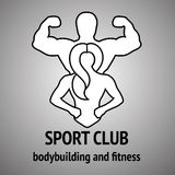 Man and woman Fitness logo. Gym club logotype. Sport Fitness club creative concept. Sign, Symbol, badge Stock Photography