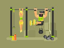 Man and woman fitness. Sport training, exercise workout, gym vector illustration Stock Photography