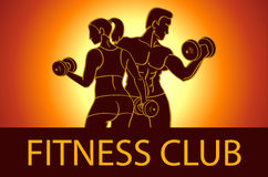 Man and woman Fitness template. Gym club logotype. Sport Fitness club creative concept. Bodybuilder and woman Fitness Model Illust Stock Images