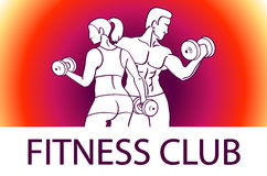 Man and woman Fitness template. Gym club logotype. Sport Fitness club creative concept. Bodybuilder and woman Fitness Model Illust Stock Photo