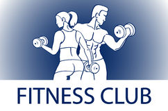 Man and woman Fitness template. Gym club logotype. Sport Fitness club creative concept. Bodybuilder and woman Fitness Model Illust Royalty Free Stock Image