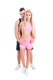 Man and woman fitness trainers and couple Royalty Free Stock Image