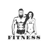 Man and woman of fitness vector vintage emblems, labels, badges and logos in monochrome style on white background. stock illustration