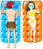 Man and woman on floating raft. Illustration Stock Photos