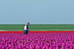 Man and woman among flowers Stock Photography