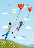 Man And Woman Flying With Hearts. A man and a woman towering over the fields holding a heart tied with strings stock illustration