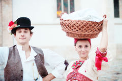 Man and woman in folk costume,Zagreb time machine Royalty Free Stock Photo