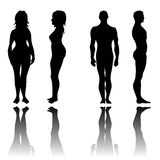 Man and woman in front and side view. Silhouettes set Royalty Free Stock Image