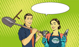 Man and woman with garden tools. Vector illustration in retro comic pop art style Stock Illustration