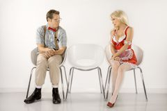 Man and woman gazing at each other. Stock Images