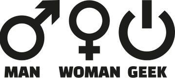 Man woman geek. Icons vector royalty free illustration