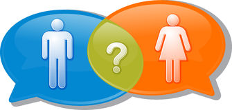 Man woman gender comparison Conversation negotiation argument Il. Illustration concept clipart speech bubble dialog conversation negotiation argument over man Royalty Free Stock Photo