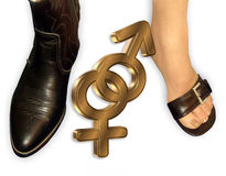 Man Woman gender symbols. 3 Dimensional gender symbols for man and woman with boot and pretty shoe. Image and illustration composition Stock Photos