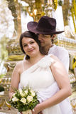 Man and woman get married in Thai temple Royalty Free Stock Photography