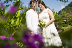 Man and woman get married the tropics Royalty Free Stock Photo