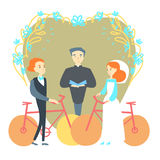 Man and woman getting married. Man and woman getting married on bikes Royalty Free Stock Photography