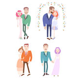Man and woman getting married. Couples collection. Isolated on white background. Wedding vector illustration eps 10 Stock Image
