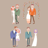 Man and woman getting married. Couples collection. Wedding vector illustration eps 10 vector illustration