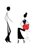 Man and woman with gift. Stick figures Stock Photography