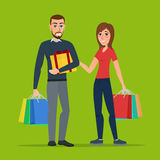 Man and woman with gifts and shopping. Cartoon concept. Vector c Stock Image