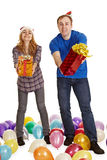 Man and woman give gifts isolated on white Stock Photography