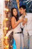 Man and woman with glasses of champagne stand Royalty Free Stock Photo