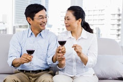Man and woman with glasses of wine Royalty Free Stock Image