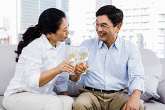 Man and woman with glasses of wine Royalty Free Stock Photo