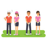 Man and woman golf sport athletes. Golf players playing, teeing off and putting with golf club. Flat design people characters Royalty Free Stock Photography