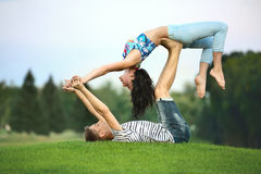 Man and woman on grass Royalty Free Stock Photography