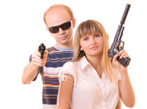 Man and woman with guns isolated Stock Image