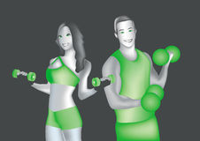 Man and woman in gym Stock Photo