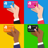 Man & Woman Hand with Credit Card Stock Image