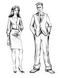 Man and woman. Hand drawn illustration. People in business suits. Man and Woman, sketch. Hand drawn illustration. Business people. Business man and business Royalty Free Stock Photos