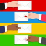 Man & Woman Hand with Email Envelope. Businessmen and businesswomen hand holding mail envelope. Email, mail, messages and communication concepts. Eps file vector illustration